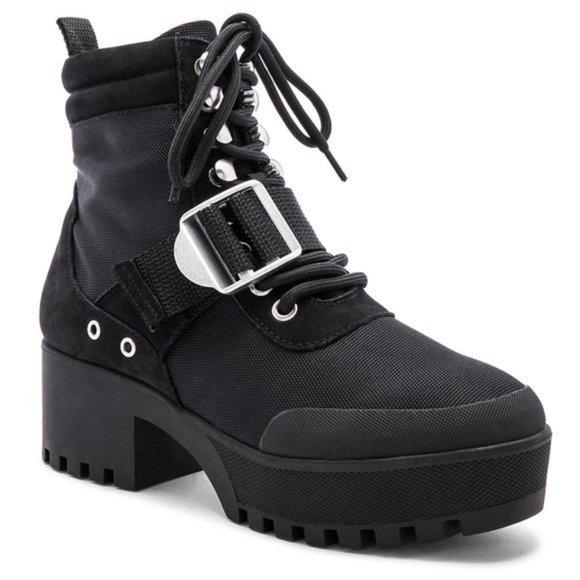 Nib Nayra Platform Combat Boot Black